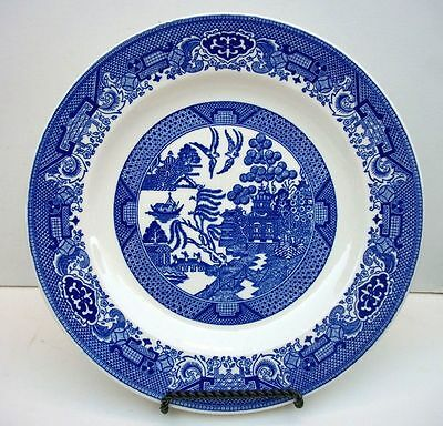 """Royal China Blue Willow Ware Transfer 10"""" Dinner Plate Open Border Design"""