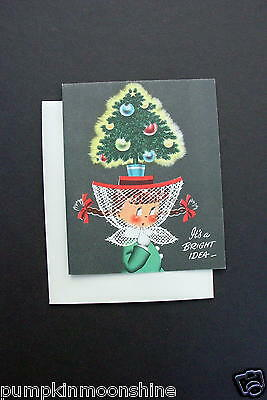 Unused Vintage Norcross Xmas Greeting Card Susie Q Wearing Decorated Tree Hat