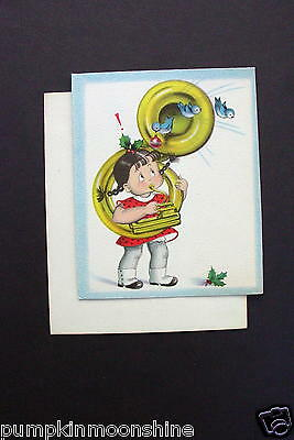 Unused Vintage Norcross Xmas Greeting Card Susie Q Playing Tuba & Blue Birds