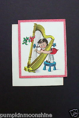 Vintage Unused Norcross Xmas Greeting Card Susie Q Playing the Harp