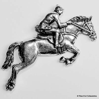 Horse Show Jumping Pewter Pin Brooch -British Hand Made- Pony Horse Gift Present