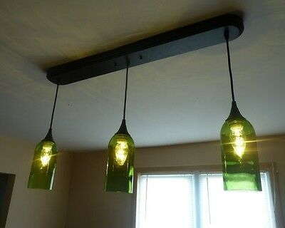 Cabernet Merlot Green Glass Wine Bottle 3 Pendant Light Lamp Bar Kitchen