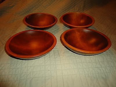 "Vintage Wooden Bowls 4qty. Measure 6.5"" to 7""-Used but very nice bowls"