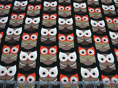 3 Yards Quilt Cotton Fabric - Timeless Treasures Woodsy Brown Owls on Black