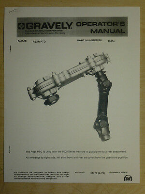 Gravely Rear Pto Operator's Manual Part No. 19814