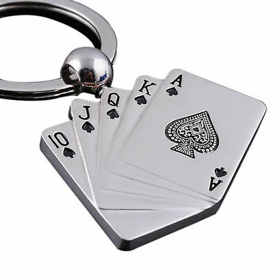 SHD Male Personality Metal Key Chain Key Ring Gift For Car Motor Poker Keychain