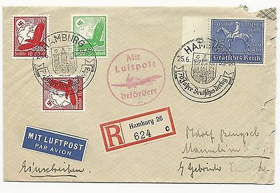 Germany Scott #C46 #C47 x2 #B144 on Registered Air Mail Cover June 25, 1939