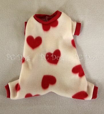 XXXS Valentine Hearts Fleece Dog Pajamas clothes PJS pet apparel teacup