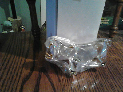 CRYSTAL HIPPO  HAND BLOWN CLEAR GLASS WITH GOLD