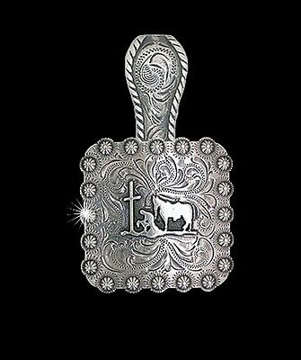 """Western Jewelry Cowgirl 1 3/8"""" Antique Silver Praying Cowboy Concho Pendant Kit"""