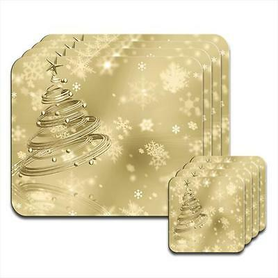 Gold Swirled Christmas Tree & Baubles Snowflakes Coaster & Placemat Set