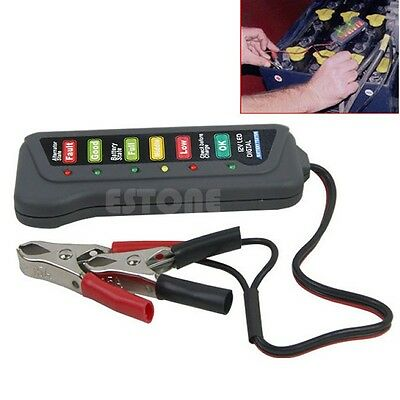 12V Car Motorcycle LED Digital Battery Alternator Tester 6 LED Display Indicate