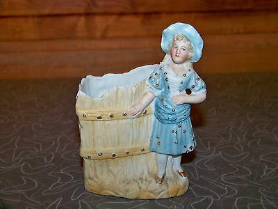 c.1890's Victorian Bisque Lady in Blue Hand Painted Figurine Vase
