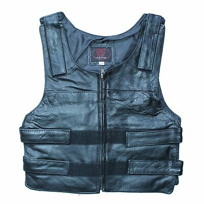 Kids Bullet Proof Style Real Leather Riding Vest For Boys & Girls - K2J