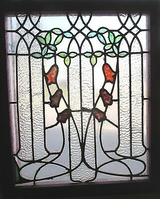 ~ ANTIQUE AMERICAN STAINED GLASS WINDOW ~ 24 x 28.75 ~ 1 of 2 ~ SALVAGE ~
