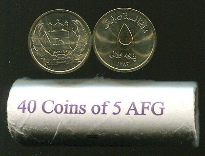Afghanistan 5 Afghanis Roll Of 40 Coins Unc