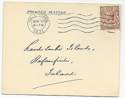 Great Britain Scott #161 on Cover to Iceland November 30, 1931