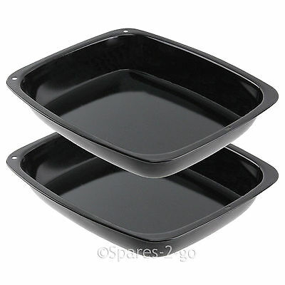 2 x Large Vitreous Enamel Roasting Tin Oven Baking Tray Roaster Deep Non Stick