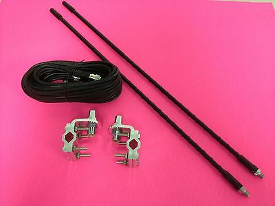 Black Dual 2' Cb Antenna Kit With 3 Way Mirror Mounts & Cophase Coax