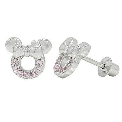 White Gold Filled 18k Baby Screw Back Pink Crystal Mouse Girls Kids Earrings