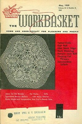 1959 The Workbasket Magazine: Tatted Doily/Knit Ball/Huck Weaving/Cut Flowers