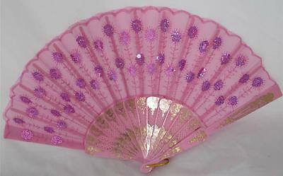 Hand Held Lace Fan Pink Sequins Folding Spanish Style