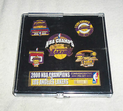 NBA Los Angeles Lakers NBA Champions 5 Pin Set + Case Limited Edition New