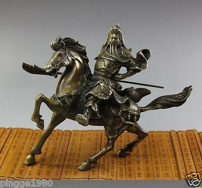 Rare Fine Chinese Bronze Statue Guan Gong & Horse NR