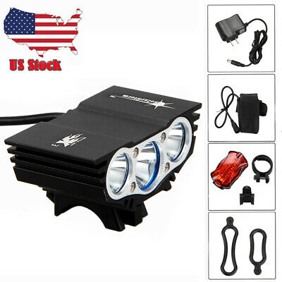 SolarStorm 7500Lm 3x CREE T6 LED Front Bicycle Lamp Bike Light +Headband+Battery