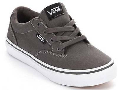 Boys Youth VANS WINSTON Gray/White Canvas Athletic/Casual Skate Shoes New