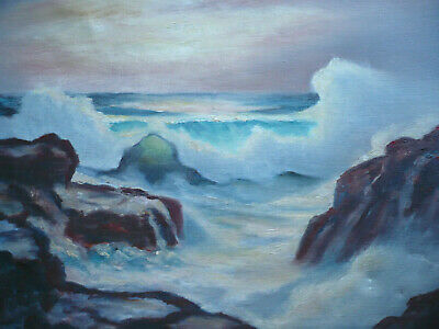 Linwood Clarke Borum, Listed Maine Me Vintage Coastal Seascape Impressionism Oil