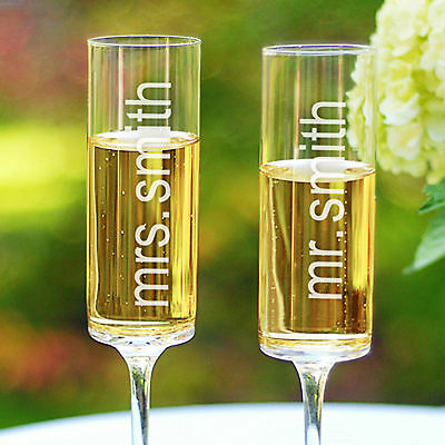 Personalized Mr. and Mrs. Wedding Toasting Champagne Flutes Set of 2