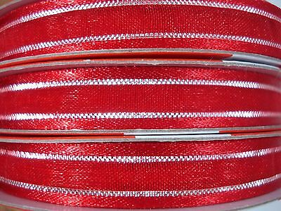 Organza Gift Wrapping Ribbon x 3 Rolls 10mm Red/Silver Thread Craft FREE POSTAGE