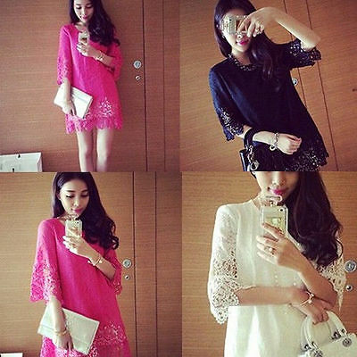 2015 Woman Sexy autumn summer Korean sweet Color elegant Lady Lace dress