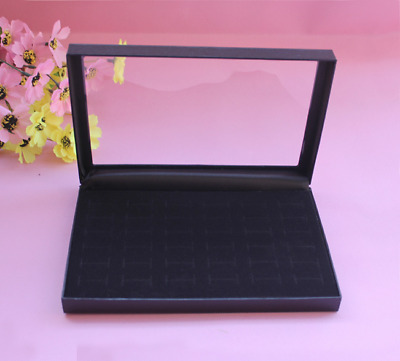 36 Slot Insert Holder Ring Display Jewelry Tray Black Velvet Pad Show Case For U