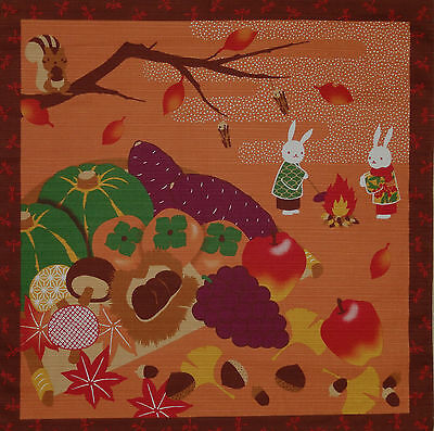 Furoshiki Japanese Fabric Cloth 'Rabbits & Squirrel at Harvest Time' Cotton 50cm
