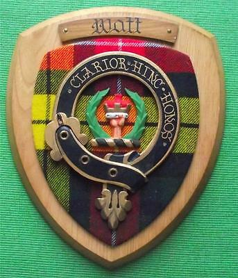 Old Scottish Carved Oak Clan Watt Coat  Arms Plaque Crest Shield