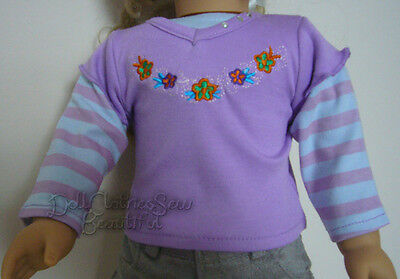 Deal! Lavender Embroidered T-Shirt for American Girl Doll Clothes Layered Sleeve