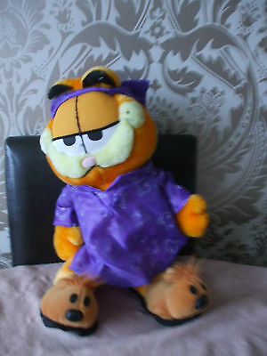 """Soft Plush Garfield in nightgown Slippers & Cap Bedtime 14"""" Tall"""