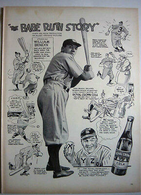 1948 THE BABE RUTH STORY MOVIE - WILLIAM BENDIX - ROYAL CROWN COLA PRINT AD!