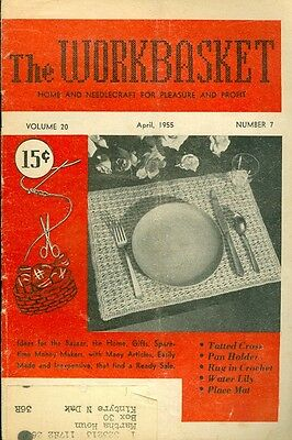 1955 The Workbasket Magazine: Crochet Placemat/Water Lily Motif/Tatted Cross