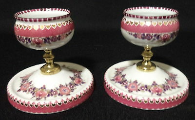 Vintage Pair of Steinbock Enamel Made in Austria Candle Holders / Prickets