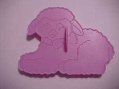 Vintage 1990 Wilton Lilac Plastic Easter Cookie Cutter ~ Laying Down Lamb