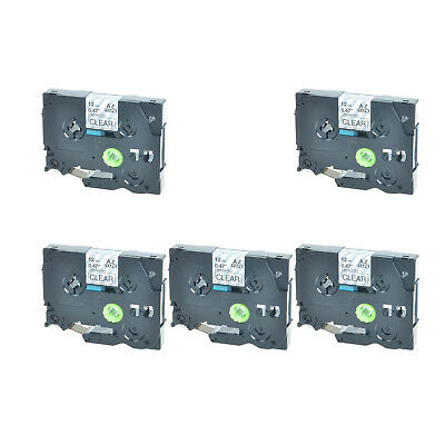 5PK 1/2inch 12mm Black on Clear TZ-131 Label tape TZ TZe 131 For Brother P-touch