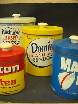 vintage tin domino canisters maxwell house lipton pillsbury