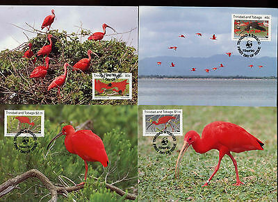 Trinidad & Tobago 1990 WWF Scarlet Ibis, Birds, Maximum Card Set #C14255