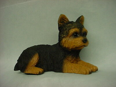 YORKIE FIGURINE dog HAND PAINTED STATUE Yorkshire Terrier Puppy pet NEW