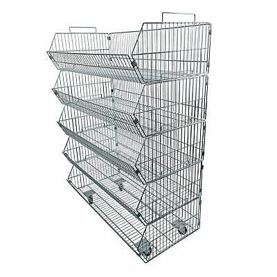 Shop storage 5 tier stacking wire baskets Heavy duty with wheels 1000mm (J6)