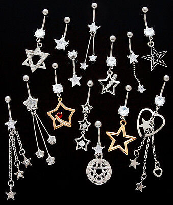 10pc Stars Mix Dangle Belly Rings Navel naval Wholesale Lot (B43)