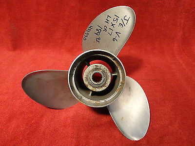USED JOHNSON/EVINRUDE 15 x 17p SSS II C/R L/H V6 STAINLESS STEEL PROPELLER PROP